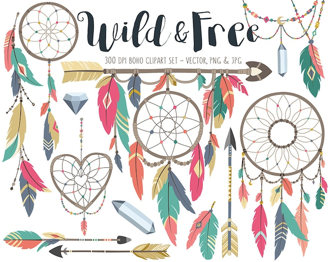 Tribal Clipart - Boho Tribal Clip Art Set, Dream Catcher Clipart, Feather Clipart, Arrow Clipart, Commercial Use Digital Download Clip Art