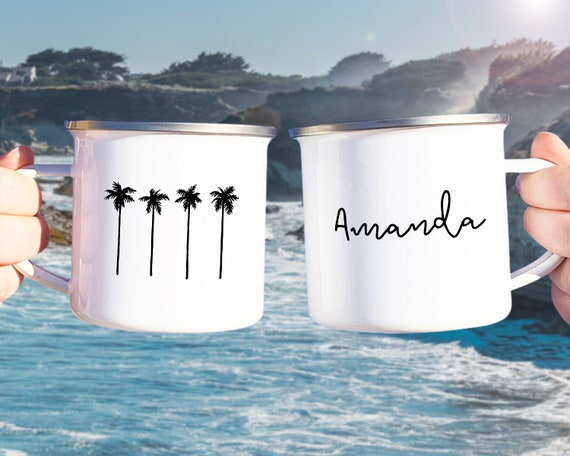 Personalized Camp Mug - Custom Name Mug, Personalized Mug, Mug Gift, Beach Lover, Personalized Gift, Custom Gift, Palm Trees, Beach Mug Gift