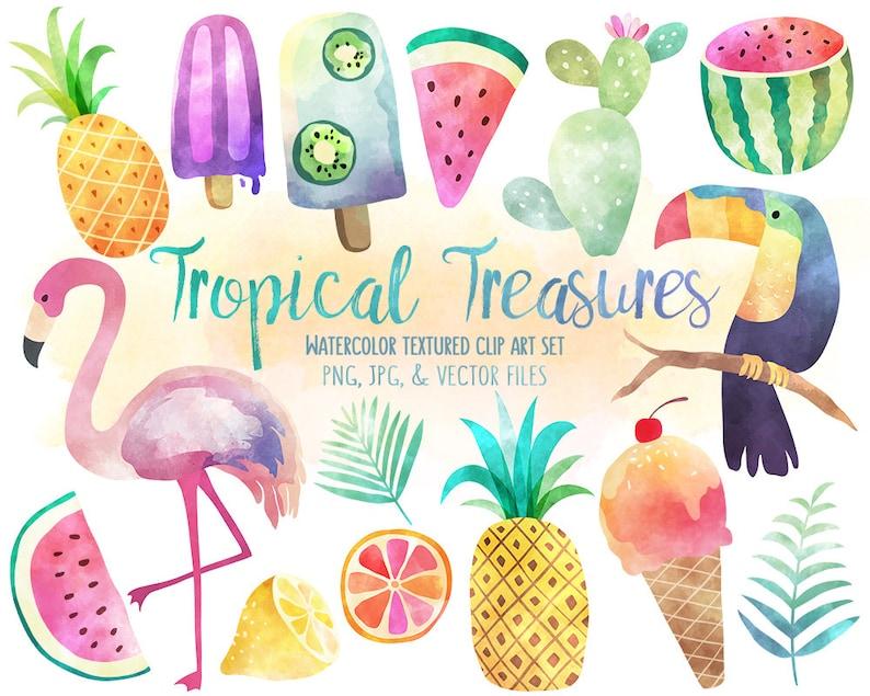 Tropical Clip Art  Watercolor Summer Clipart Set Vector image 0