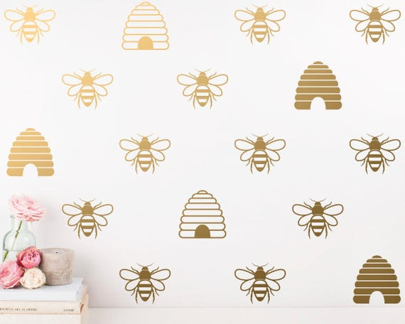 Bee Wall Decals - Wall Decor, Honey Bee Decals, Beehive Decals, Gold Bee Wall Decals, Honey Bee & Beehive Wall Stickers