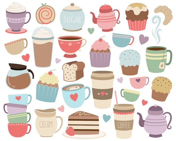 Coffee and Tea Clipart - Set of 33 High Quality Vector, PNG & JPG Files - Cute Trendy Food and Drink Clip Art