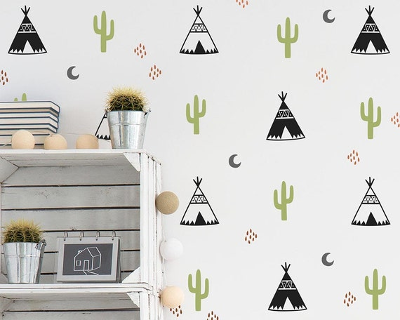 Tribal Wall Decals - Multicolored Wall Decals, Nursery Decal, Teepee Decals, Cactus Decals, Moon Wall Decals, Kids Room Decor, Nursery Decor