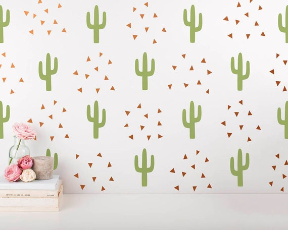 Cactus and Triangle Wall Decals - 2-Color Wall Decals, Nursery Decals, Tribal Wall Art, Modern Wall Decals, Unique Wall Stickers