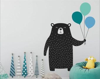 Bear Wall Decal - Nursery Decal, Vinyl Wall Decal, Cute Bear and Balloons Wall Decal, Multicolored Wall Decor