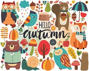 Autumn Woodland Clipart - Fall Clipart, Autumn Clip Art, Woodland Clipart, Cute Woodland Animals and Fall Floral Design Elements