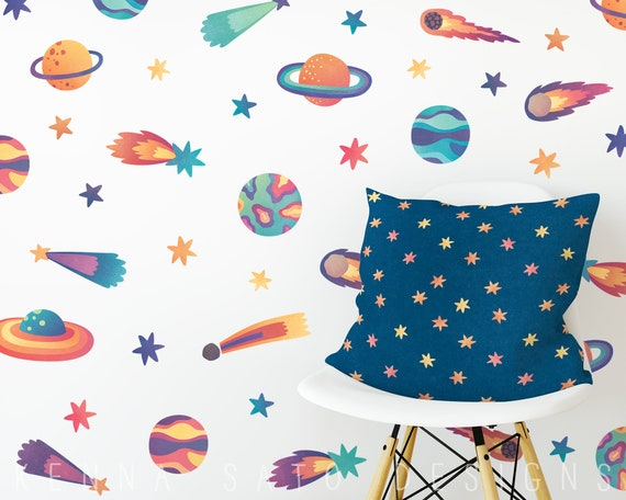 Watercolor Outer Space Wall Decals - Reusable Wall Decals, Wall Decor, Planet Decals, Nursery Decor, Gift for Kid, Star Decal, Kids Wall Art