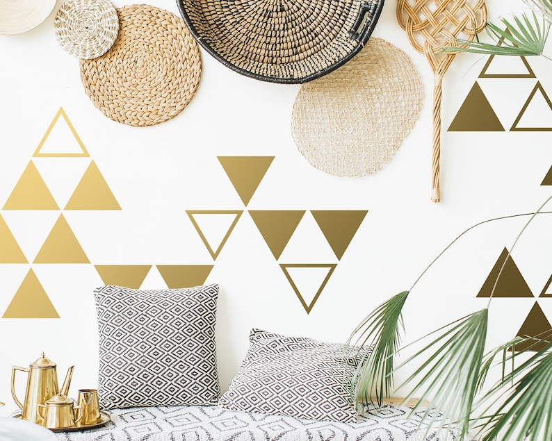 Triangle Decal Gold Decals Tribal Decal Geometric Vinyl Decals Unique Modern Decor for Gifts and More! Large Triangle Wall Decals