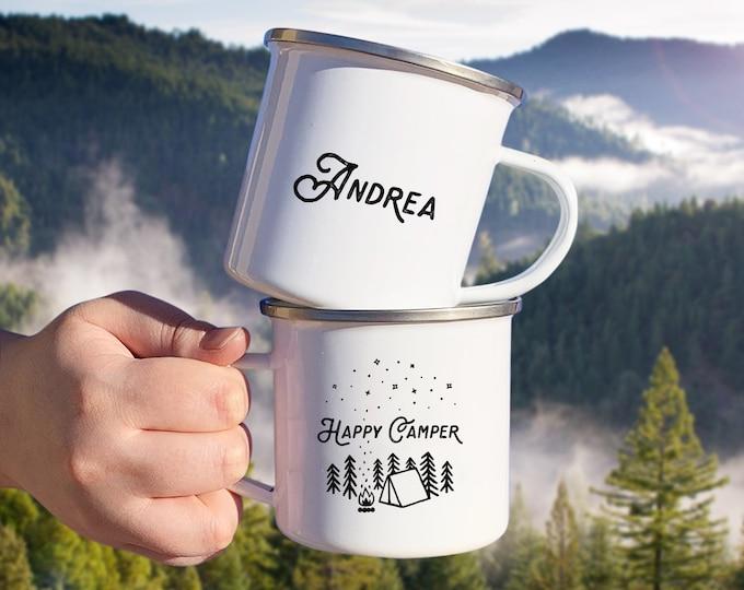 Personalized Camp Mug - Custom Name Mug, Personalized Mug, Camping Gift, Personalized Gift, Custom Gift, Happy Camper Mug, Adventure Gift