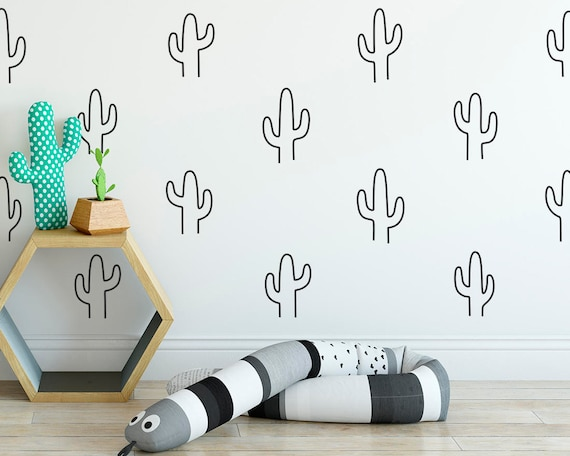 Cactus Wall Decals - Wall Decor, Gift for Mom, Nursery Decor, Cactus Decor, Vinyl Wall Decals, Gift, Wall Art, Unique Home Decor, Baby Gift