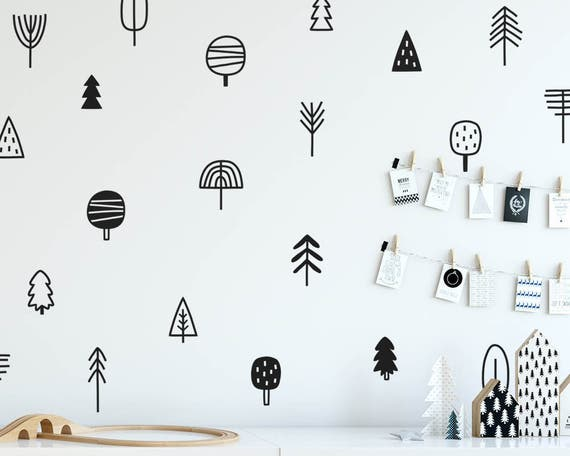 Tree Wall Decals - Woodland Nursery Decals, Pine Tree Decals, Forest Wall Decals, Kids Wall Stickers, Cute Woodland Stickers