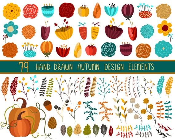 Autumn Floral Fall Clip Art - Set of 79 Hand Drawn Design Elements - 300 DPI PNG, JPG, and Vector Files
