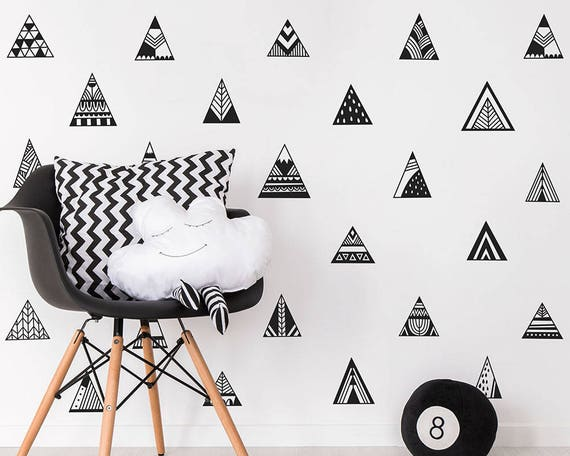 Mountain Wall Decals - Scandinavian Style Decals, Triangle Decals, Geometric Decals, Vinyl Wall Decals, Nursery Wall Decals, Kids Room Decal