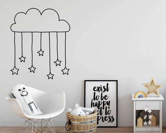 Cloud and Hanging Stars Wall Decal - Nursery Decal, Cute Cloud Decal, Stars Wall Decal, Kids Room Decor, Unique Wall Stickers
