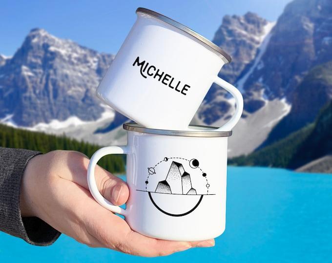 Personalized Camp Mug - Custom Name Mug, Personalized Mug, Mug Gift, Adventure, Wanderlust, Outer Space Gift, Personalized Gift, Custom Gift
