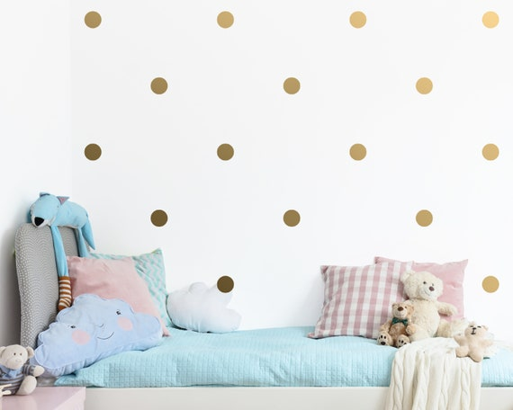 Polka Dot Wall Decals - Gold Confetti Wall Decal Set - Unique Vinyl Wall Decals, Silver Decals, Modern Metallic Decor for Gifts and More!