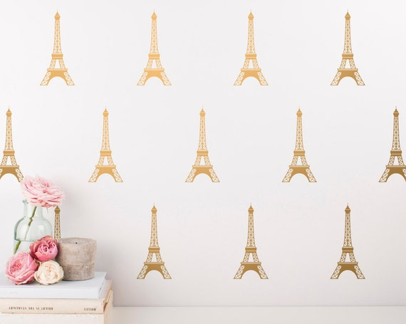 Eiffel Tower Decals - Paris Wall Decal, Vinyl Wall Decals, Metallic Decals, Gold Wall Decor, Nursery Decals, Wall Stickers