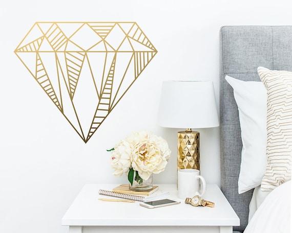 Diamond Wall Decal - Geometric Diamond Wall Decal, Geometric Wall Art, Gift for Her, Geometric Home Decor, Wall Sticker, Glam Decor, Gold