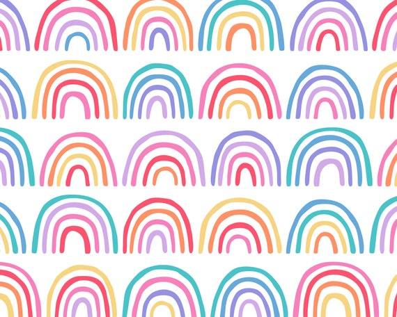 Rainbow Wallpaper - Peel and Stick Removable Wallpaper, Rainbow Home Decor, Nursery Wall Decor, Rainbow Wall Art, Kids Bedroom Wallpaper