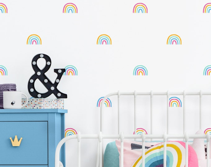 Rainbow Decals - 4 Color Rainbow Stickers, Rainbow Decor, Colorful Wall Decor, Girls Room Decor, Kids Room Decor, Rainbow Vinyl Wall Decals