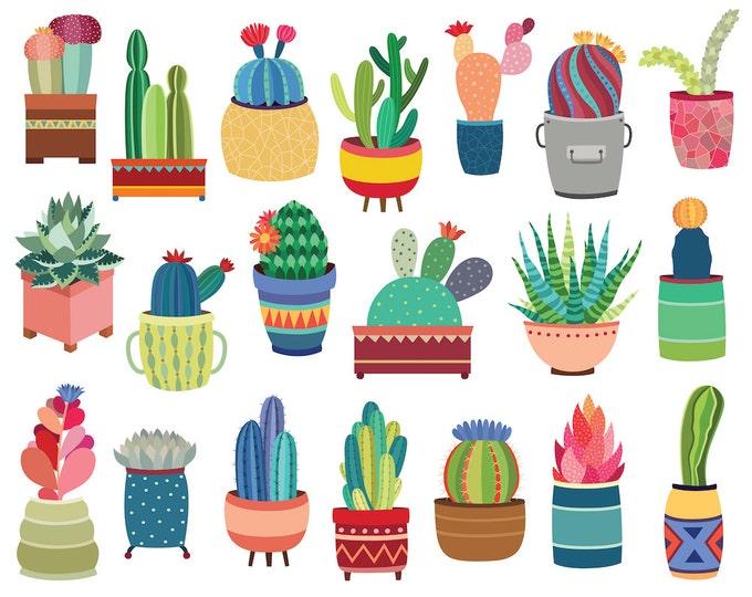 Cactus & Potted Succulents Clipart - 20 Hand Drawn Vector, PNG, and JPG Files - Cute Clip Art, Unique, Tribal Design Elements