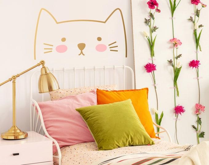 Cat Wall Decal - Kids Room Wall Decor, Removable Wall Sticker, Nursery Decor