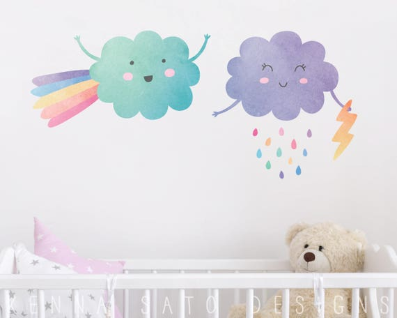 Watercolor Cloud & Raindrop Wall Decals - Reusable Wall Decals, Nursery Decor, Star Decals, Wall Decor, Baby Shower, Kids Room Wall Art