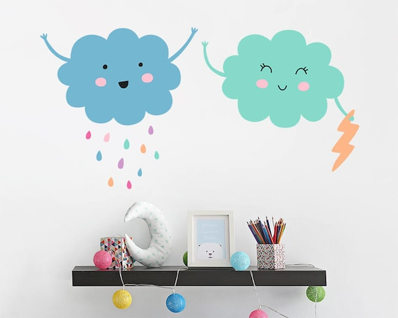 Cloud Wall Decals - Vinyl Wall Decals, Nursery Cloud Decals, Cute Wall Stickers, Raindrop Decals, Kids Room Rain Cloud Wall Decals