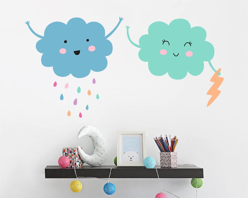 cloud wall decals vinyl wall decals nursery cloud decals | etsy
