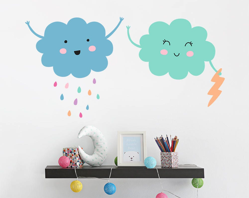 Cloud Wall Decals Vinyl Wall Decals Nursery Cloud Decals Etsy
