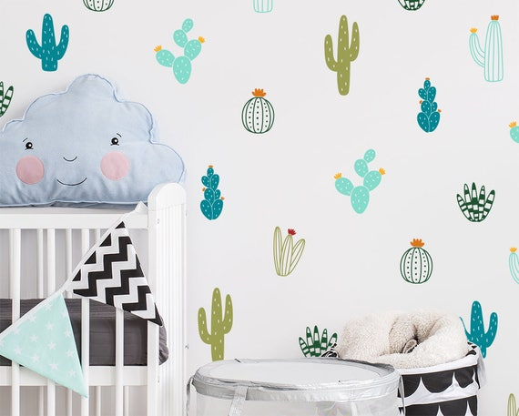 Cactus Wall Decals - Colorful Cacti Wall Stickers, Nursery Decals, Vinyl Wall Decals, Tribal Decals, Tribal Nursery Decor