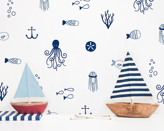 Sea Life Wall Decals - Nautical Decals, Nursery Decals, Ocean Decals, Cute Nautical Decor, Kids Room Wall Stickers
