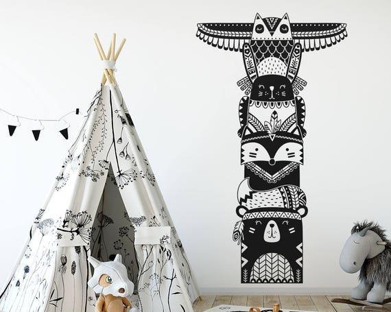 Totem Pole Wall Decal - Woodland Animal Tribal Decal, Vinyl Wall Decal, Nursery Decal, Tribal Nursery, Tribal Wall Sticker, Woodland Nursery