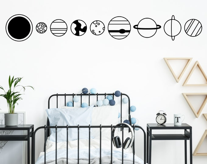 Planet Wall Decals - Outer Space Decals, Kids Room Decor, Nursery Decor, Space Wall Art, Space Bedroom Decor, Sun Decal, Earth Decal