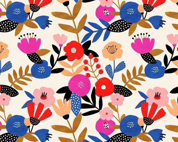 Floral Wallpaper - Peel and Stick Removable Wallpaper, Bedroom Wall Decor, Floral Pattern Wall Art, Nursery Wallpaper, Kids Room Decor