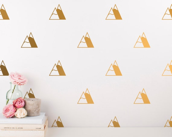 Mountain Wall Decals - Nursery Decals, Gold Wall Decals, Geometric Wall Decal Set, Silver Decals, Vinyl Decal, Wall Stickers, Wall Decor