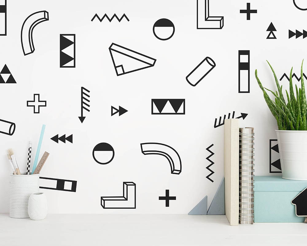 Modern abstract wall decals geometric decals vinyl wall decals modern wall decals unique wall stickers