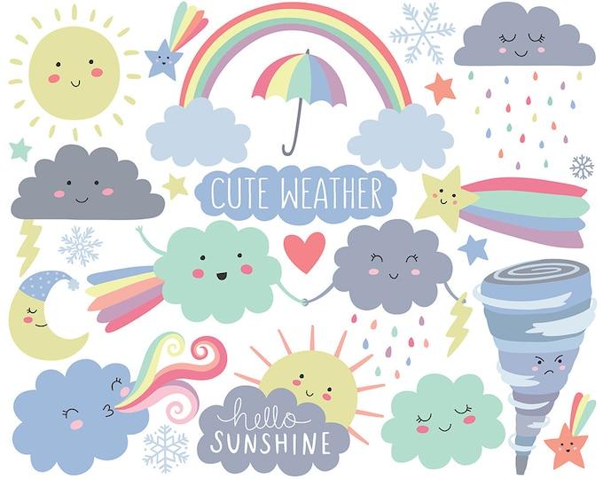 Weather Clipart - Cute Clipart, Cloud Clipart, Spring Clipart, Kawaii Clipart Set, Adorable Digital Clip Art!
