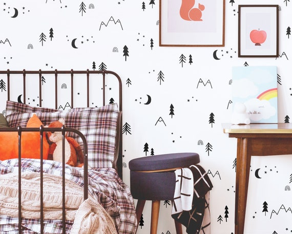Woodland Wall Decals - Woodland Nursery Decor, Tree Decals, Moon and Stars Wall Stickers, Forest Art, Mountain Nursery Decor
