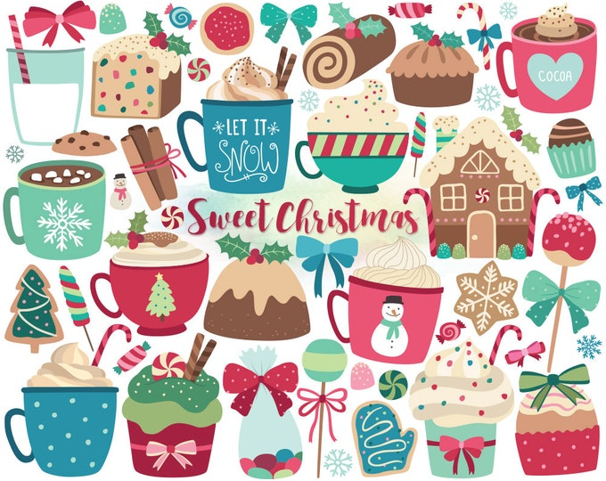 Christmas Clipart - Christmas Sweets & Treats Clip Art, Holiday Clipart, Digital Christmas, DIY Christmas Cards, Unique Holiday Printables