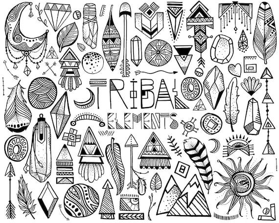 Tribal Clipart - 68 Hand Sketched Vector & PNG Tribal Design Elements Clip Art Set - Unique Boho Clipart, Tribal Decor, Tribal Art