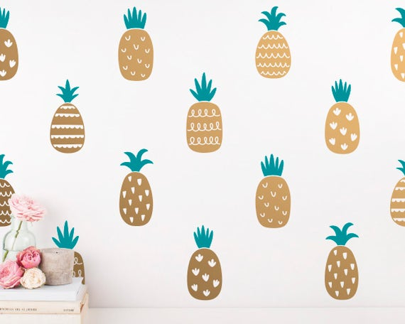 Pineapple Wall Decals - 2-Color Pineapple Decals, Gold Decor, Pineapple Decal, Wall Stickers, Modern Wall Decals, Pineapple Vinyl Decals