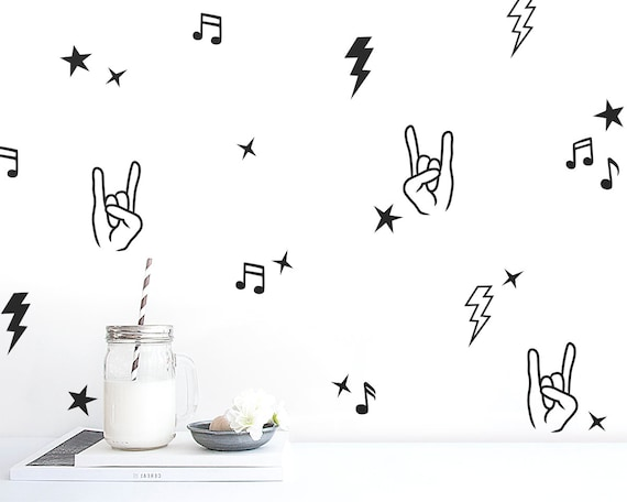 Rock and Roll Decal Set - Nursery Decor, Gift for Mom, Wall Decor, Kids Music Decals, Kids Room Decals, Wall Art, Vinyl Wall Decal, Rock On