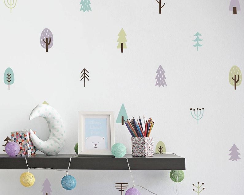 Baum Wandtattoo Wald Kinderzimmer Dekor 4-Farb-Baum | Etsy