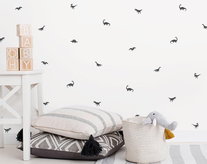 Tiny Dinosaur Wall Decals - Nursery Wall Decor, Dinosaur Decor, Kids Room Decor, Wall Stickers, Gift for Kids, Baby Shower Gift