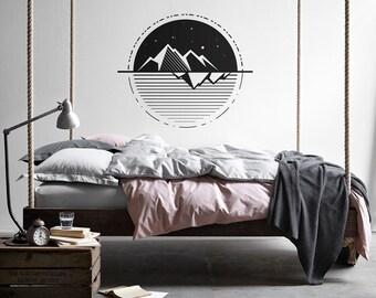 Geometric Wall Decal - Mountain Decal, Geometric Decals, Modern Wall Decal, Unique Vinyl Wall Decals