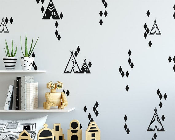 Teepee and Diamond Pattern Wall Decals - Tribal Wall Decals, Nursery Decals, Teepee Decals, Geometric Decals, Cute Tribal Wall Stickers