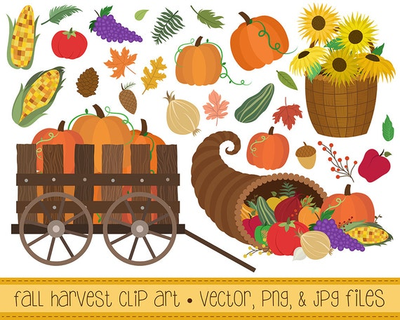 Fall Harvest Clipart - Set of 27 Vector, PNG, and JPG Files - Hand Drawn Autumn Seasonal Clip Art Digital Download
