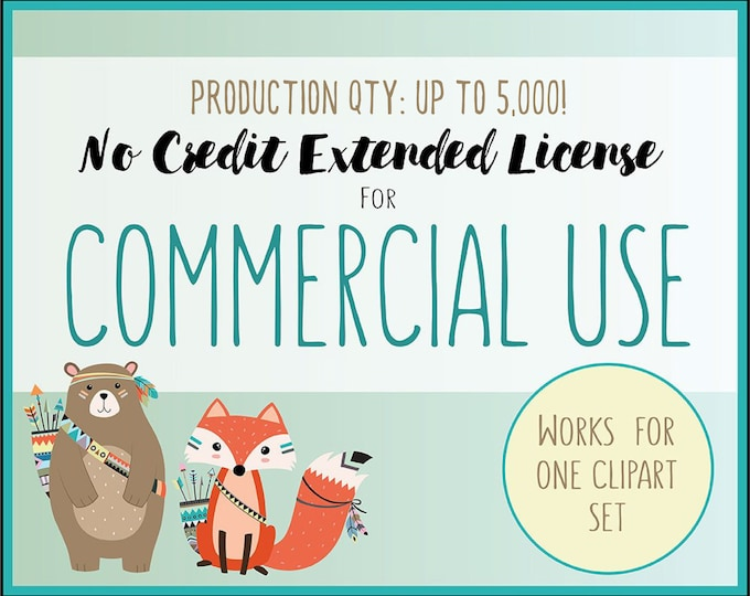 Extended License for Commercial Use of Any Clip Art Set - Production Quantity up to 5,000, Small Business Commercial Use of Clip Art