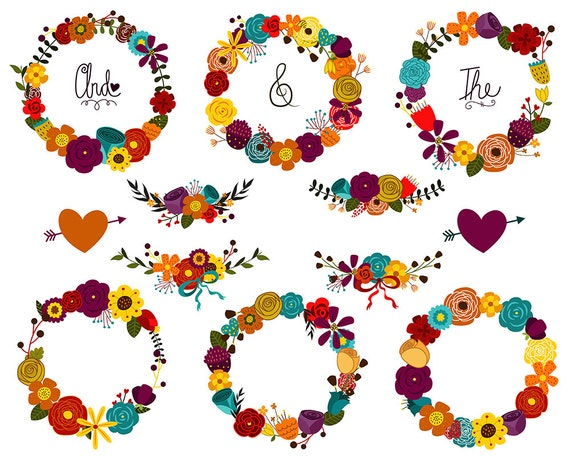 Autumn Floral Wreaths and Design Elements - 15 Hand Drawn Fall/Seasonal Clip Art Set - 300 DPI PNG, JPG, and Vector Files Digital Download
