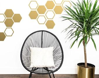 Large Honeycomb Wall Decals - Hexagon Vinyl Decals - Geometric Decals, Gold Decals, Living Room Decals, Vinyl Wall Decals, Wall Stickers
